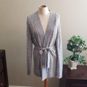 Grey crochet knit cardigan